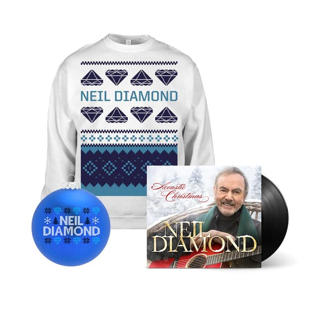 Neil Diamond Acoustic Christmas LP + Holiday Sweatshirt + Holiday Ornament