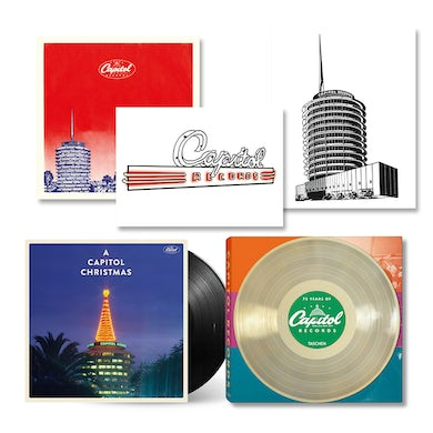 75 Years of Capitol Records Book + 3 Lithographs + A Capitol Christmas LP (Vinyl)
