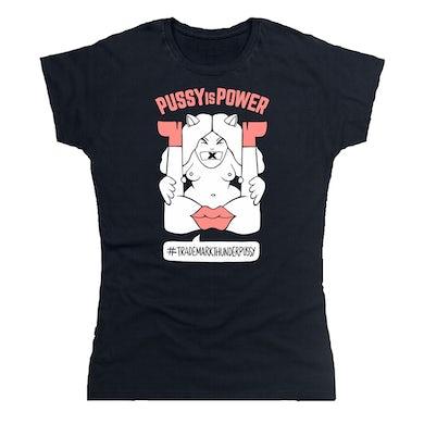 Thunderpussy Ladies Pussy is Power Black + Pink T-Shirt