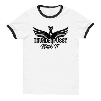 """Thunderpussy Unisex """"Milk It"""" Ringer T-Shirt"""