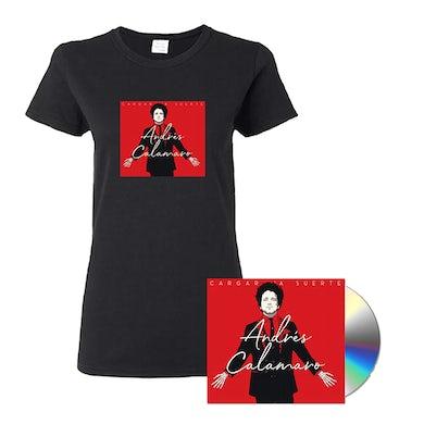 """Andres Calamaro Women's """"Cargar La Suerte"""" Black T-Shirt + CD"""