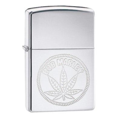 Bob Marley High Polish Chrome Leaf Zippo Lighter