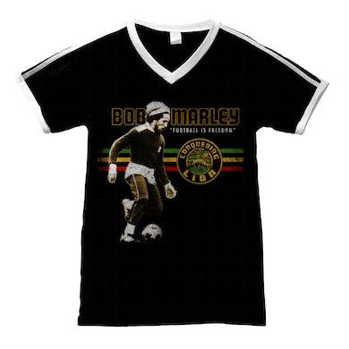 Bob Marley Football is Freedom Black T-Shirt