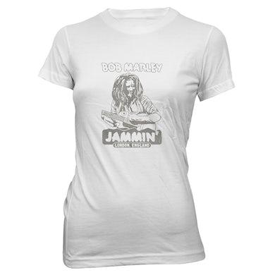 Bob Marley Jammin' in London Ladies White T-Shirt