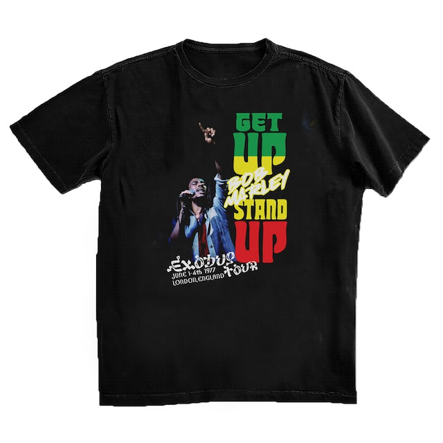 Bob Marley Get Up Stand Up in London Black T-Shirt