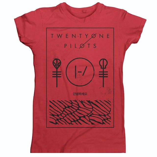 Twenty One Pilots Thin Line Box (Red) Girls T-Shirt
