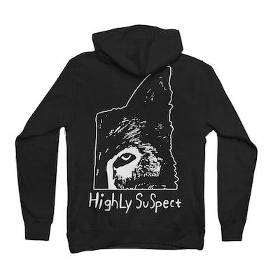 Highly Suspect Wolf Half Pullover Black Hoodie