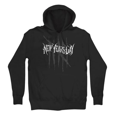New Years Day Red Distress Pullover Hoodie