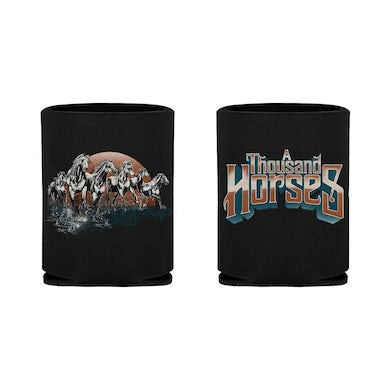 A THOUSAND HORSES Running Chrome Horse Koozie