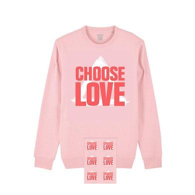 BASTILLE x CHOOSE LOVE PINK SWEAT & STICKER SHEET