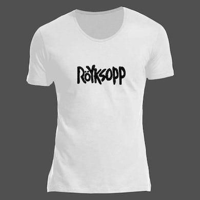 ROYKSOPP LOGO SCOOPED NECK WHITE T-SHIRT
