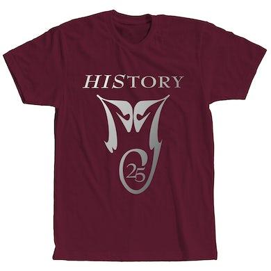 Michael Jackson HIStory 25 Maroon T-Shirt