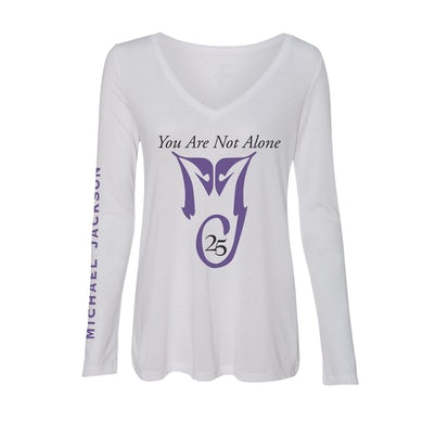 Michael Jackson YOU ARE NOT ALONE WOMENS WHITE L/S T-SHIRT