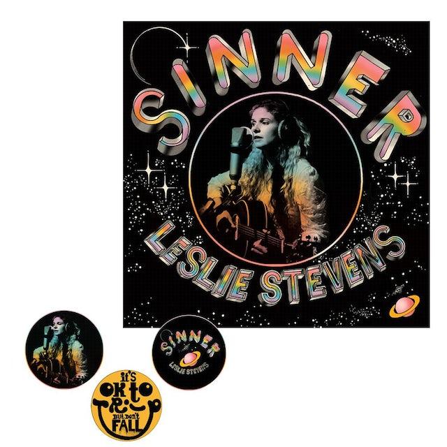 Leslie Stevens - Sinner Black Vinyl + Pin Pack Bundle