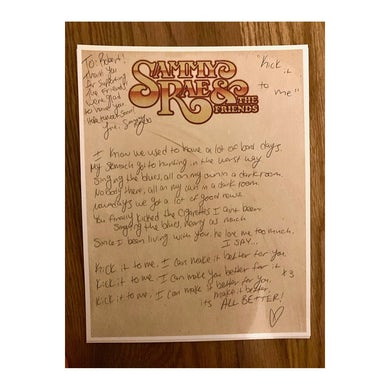 Sammy Rae - Handwritten Lyric Sheet (PRESALE MAY 2020)