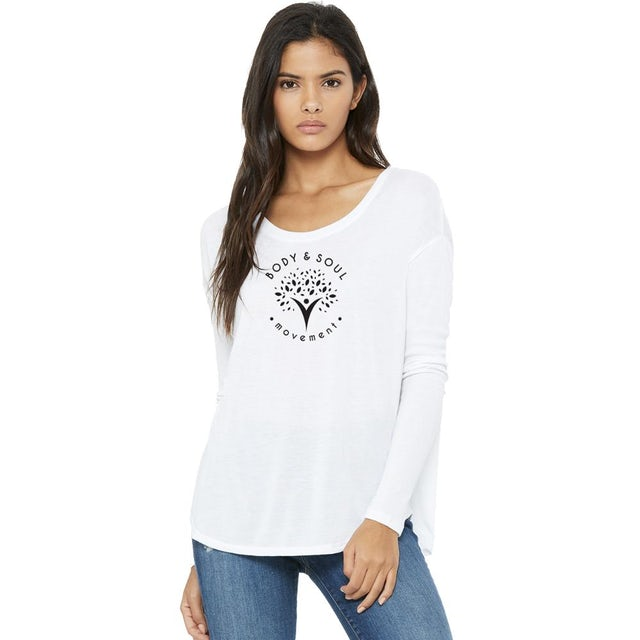 Body & Soul Movement Body and Soul Movement - Circle Logo Flowy Long Sleeve Tee (White)