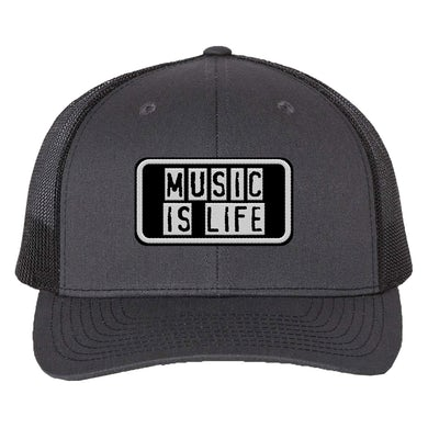 Support Local Music - Music Is Life Trucker Hat - Charcoal