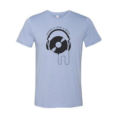 Support Local Music - Vinyl Headphones Tee (Heather Blue)