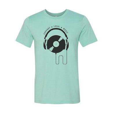 Support Local Music - Vinyl Headphones Tee (Heather Mint)