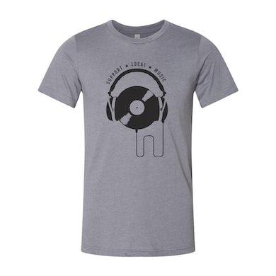 Support Local Music - Vinyl Headphones Tee (Heather Storm)