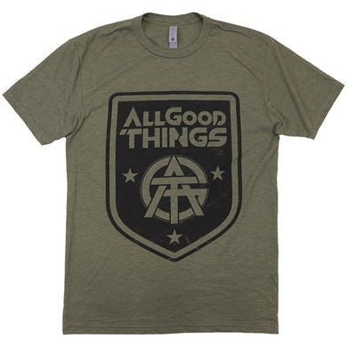 All Good Things - Military Green Crest Logo Tee