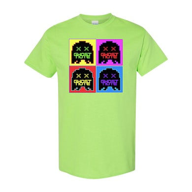 Ghost-Note - 7 Color Quadrant Logo on Neon Lime Green Unisex Tee