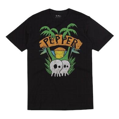 """Pepper """"Skullconut Trees"""" Black Tee"""