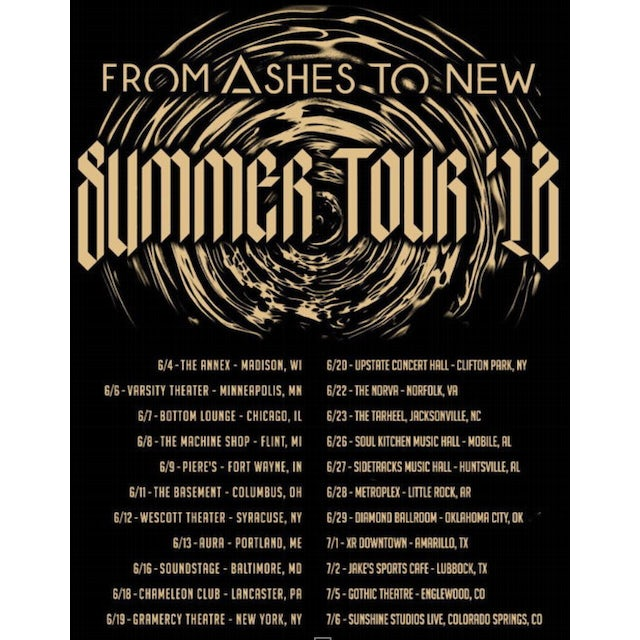 From Ashes to New FATN 2018 Summer Tour Tee
