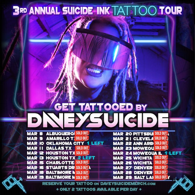 "Davey Suicide Get TATTOOED by Davey of the ""3rd Annual SUICIDE INK TATTOO TOUR"""