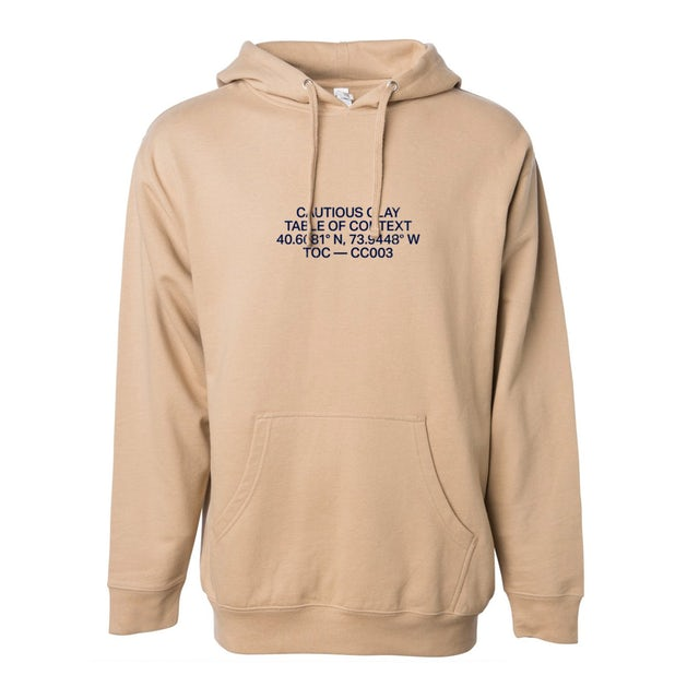 Cautious Clay Table of Context Embroidered Hoodie (Sandstone)