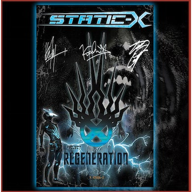 """Static-X 11x17"""" Limited Edition """"Project Regeneration"""" Autographed Poster - Poster is hand signed by Tony Campos, Koichi Fokudu, ken Jay, and Special Guest"""