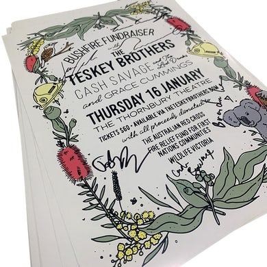 The Teskey Brothers Bushfire Fundraiser Signed Poster (A3)