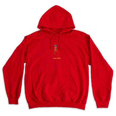 Ruby Fields Rose Embroidered Hoodie (Red)