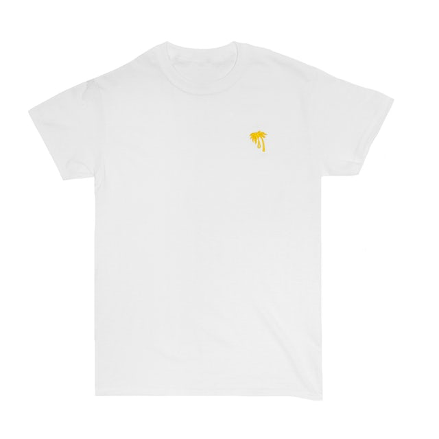TROPHY EYES Palm Embroidered Tee (Yellow on White)