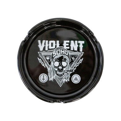 Blazin' Skull Ceramic Ashtray (Black)