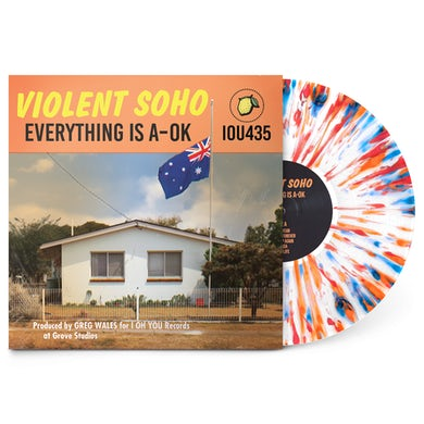 "Violent Soho Everything Is A-OK 12"" Vinyl (White w/ Red, Blue and Orange Splatter)"