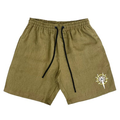 In Hearts Wake Embroidered 100% Hemp Shorts (Khaki)