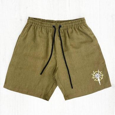 Embroidered 100% Hemp Shorts (Khaki)