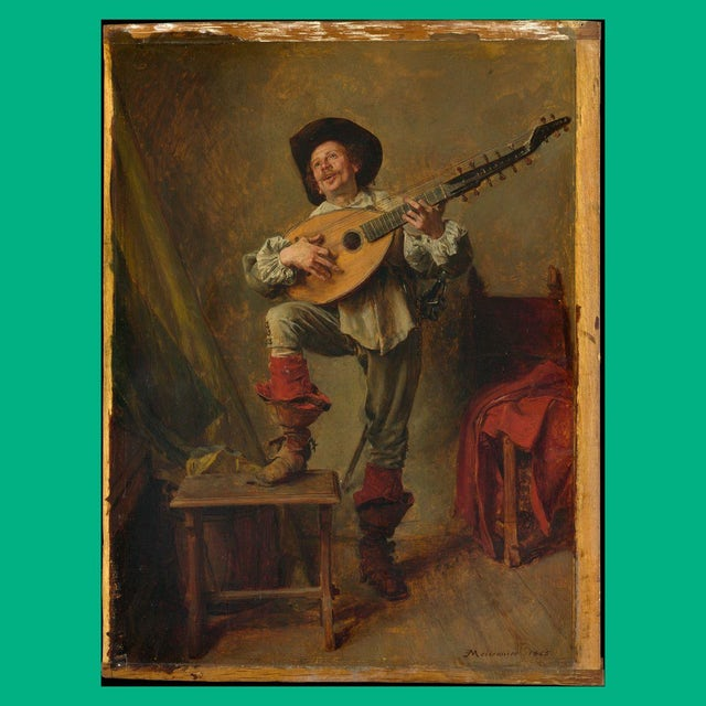 "Merchbar Museum Series T-Shirt | Ernest Meissonier ""Soldier Playing the Theorbo"" T-Shirt"