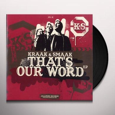 Kraak & Smaak THAT'S OUR WORD EP Vinyl Record - UK Release