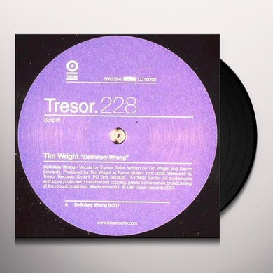 Tim Wright DEFINITELY WRONG Vinyl Record