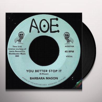 Barbara Mason YOU BETTER STOP IT Vinyl Record - UK Release