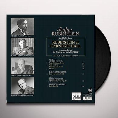 Arthur Rubinstein HIGHLIGHTS FROM RUBINSTEIN AT CARNEGIE HALL Vinyl Record