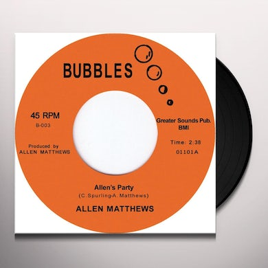 Allen Matthews ALLENS PARTY Vinyl Record