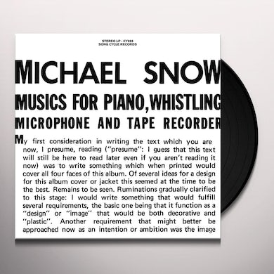 Michael Snow MUSICS FOR PIANO WHISTLING MICROPHONE & TAPE Vinyl Record
